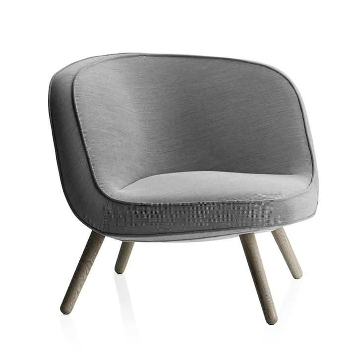 Fritz Hansen - Lounge Chair VIA57, chêne, Steelcut Trio 124 noir/blanc