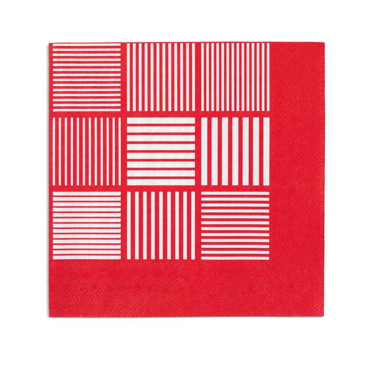 Serviettes en papier Nanna Ditzel 20pièces 40x40cm de Rosendahl en rouge/blanc