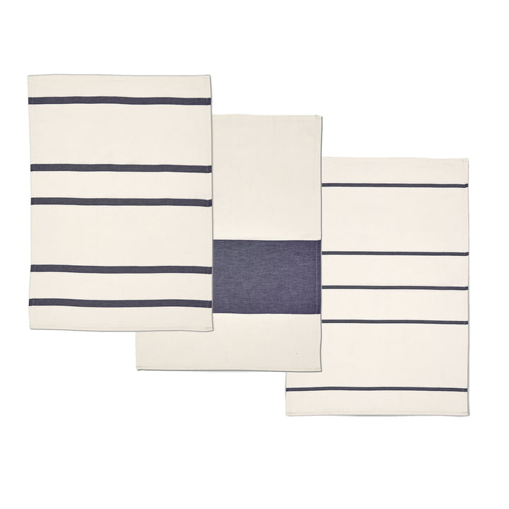 Torchons Stripes de Skagerak en blanc whisper / bleu foncé (set de 3 pièces)