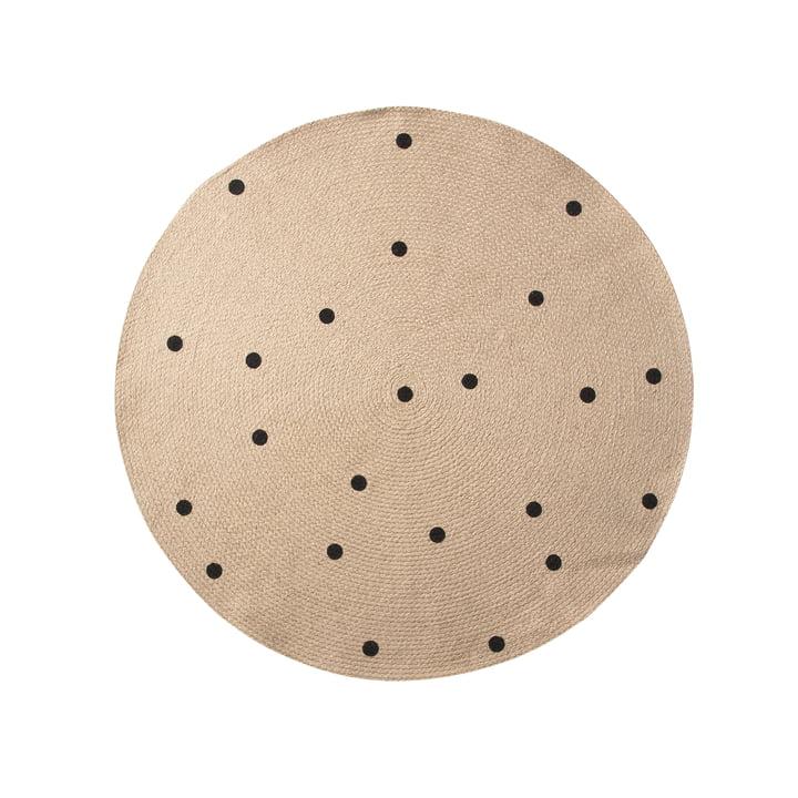 Tapis en jute Black Dots Ø100cm de ferm Living