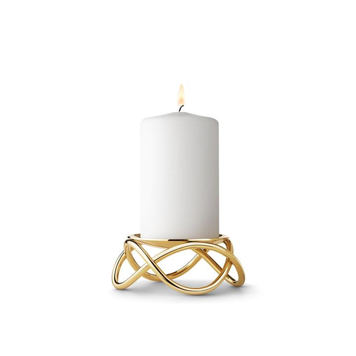 Le bougeoir pour bougie bloc Glow Small de Georg Jensen en acier inoxydable doré