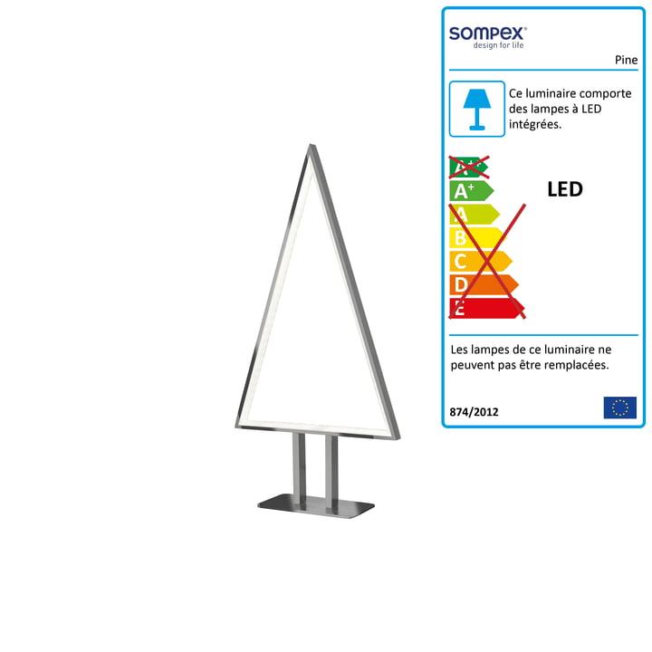 Lampe de table LED Pine 50 x 25 cm en aluminium par Sompex