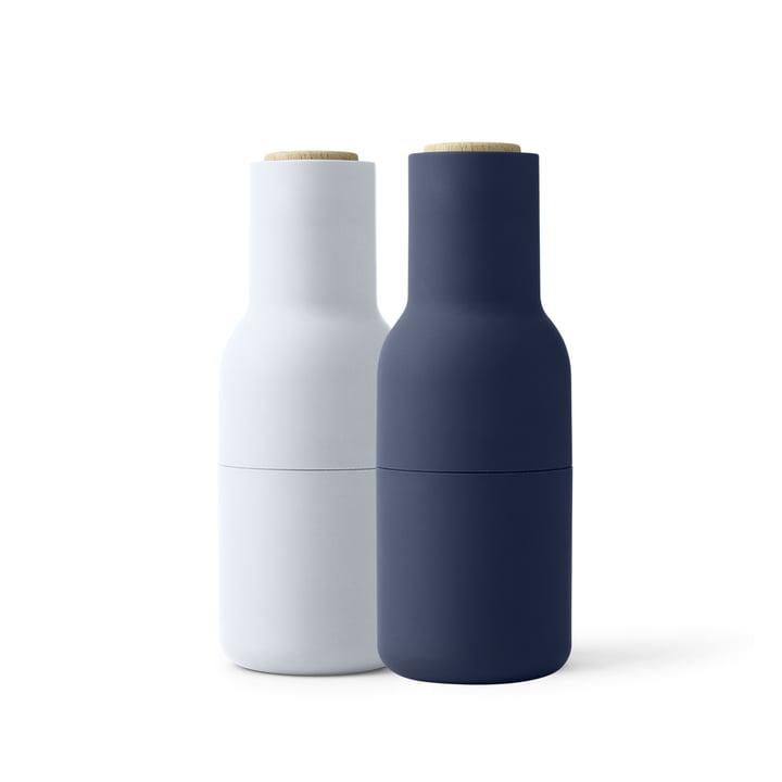 Menu - Set de moulin à sel et à poivre, small, Classic Blue (couvercle en bois)