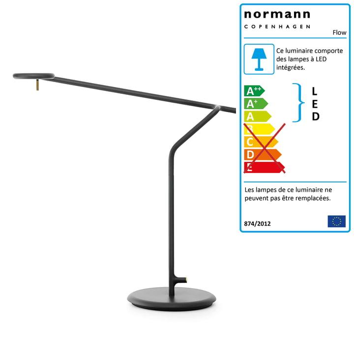 Lampe de table Flow de Normann Copenhagen en noir