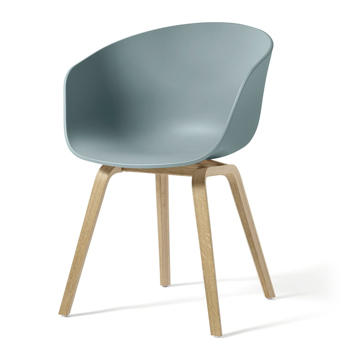 Hay - About A Chair AAC 22, wooden four-legged frame (soaped oak) / dusty blue, felt glides