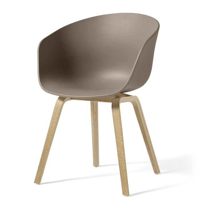 Hay - About A Chair AAC 22, wooden four-legged frame (soaped oak) / khaki, felt glides