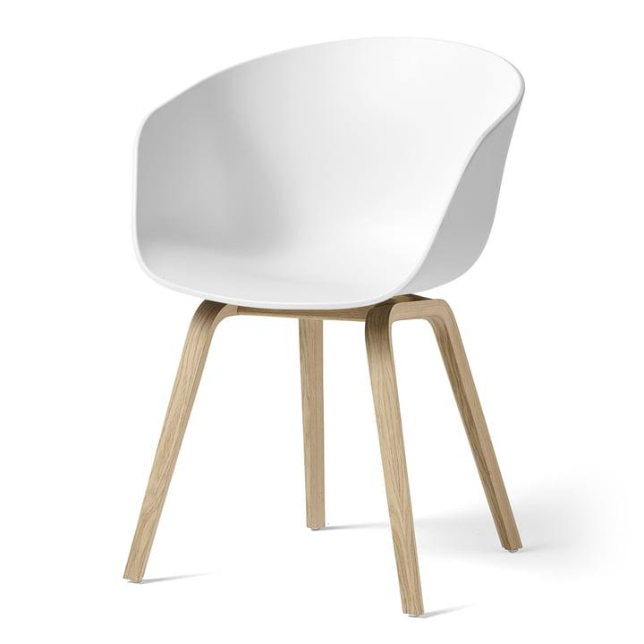 Hay - About A Chair AAC 22, structure quatre pieds en bois (chêne laqué mat) / blanc, patins en feutre