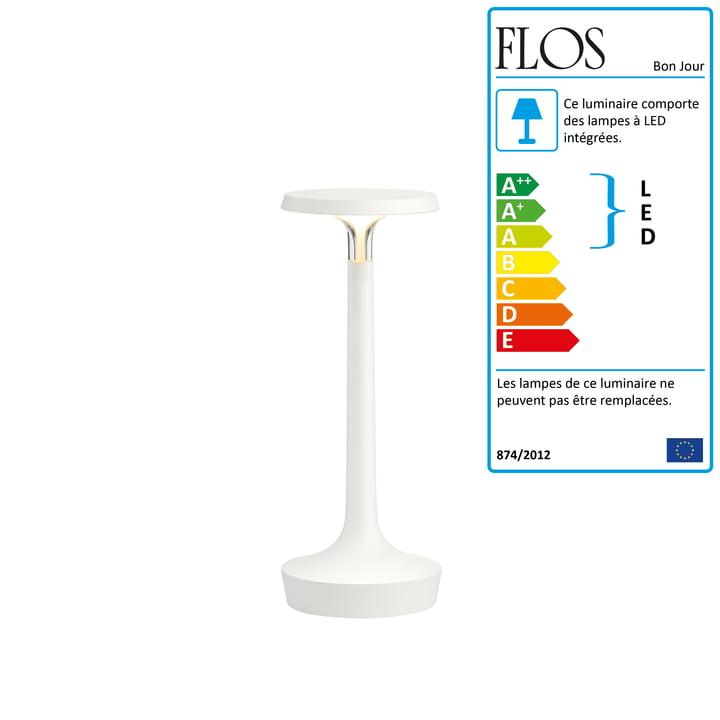 La lampe de table Bon jour Unplugged de Flos en blanc