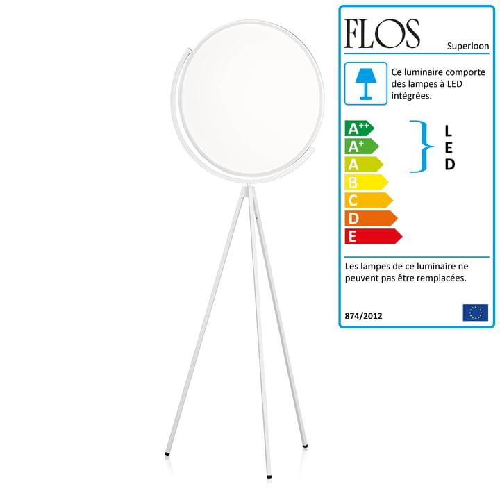 Le lampadaire Superloon de Flos en blanc