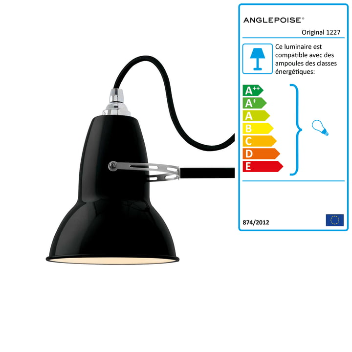 Applique murale Original 1227, câble noir, Jet Black d'Anglepoise