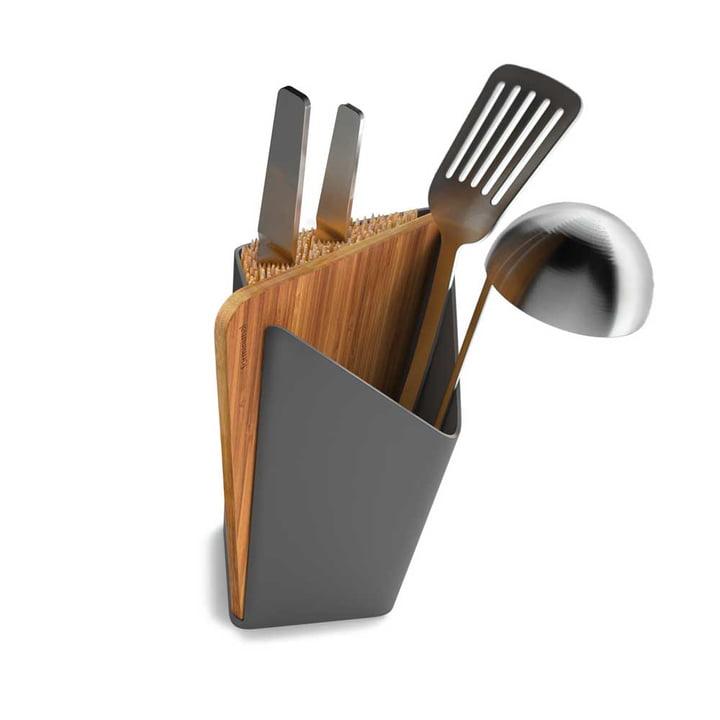 Porte-ustensiles et bloc à couteaux Forminimal avec planche à découper incluse de Black + Blum en gris