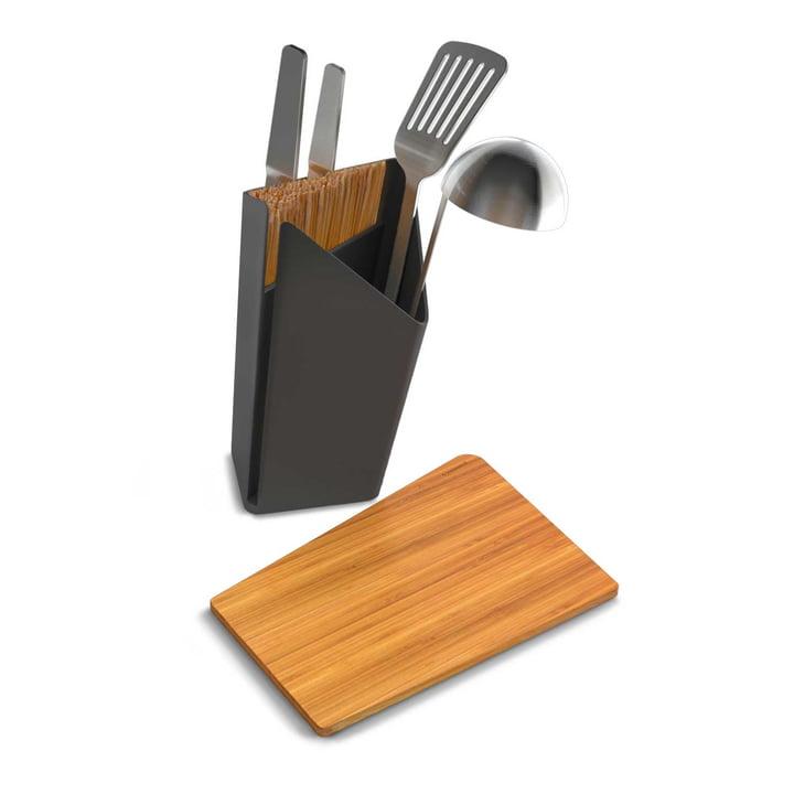 Porte-ustensiles et bloc à couteaux avec planche à découper incluse de Black + Blum