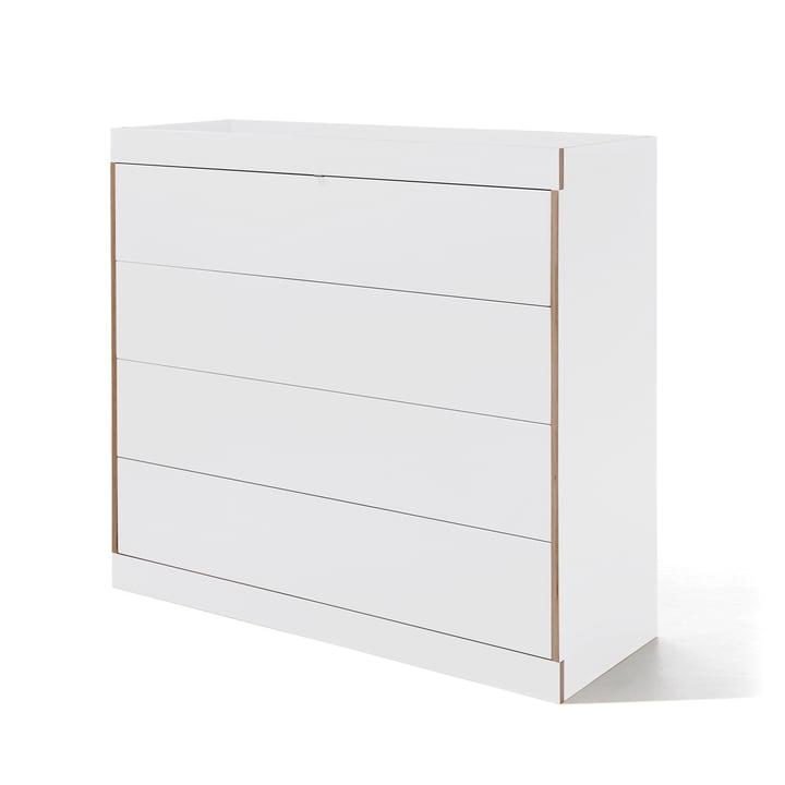 Commode à tiroirs Flai de Müller Möbelwerkstätten en blanc