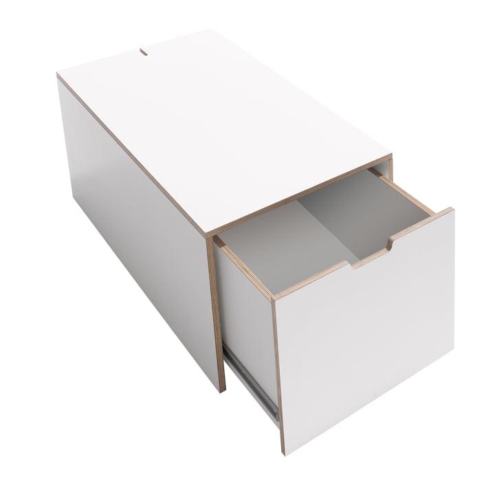 Coffre de lit 16 de Müller Möbelwerkstätten en blanc