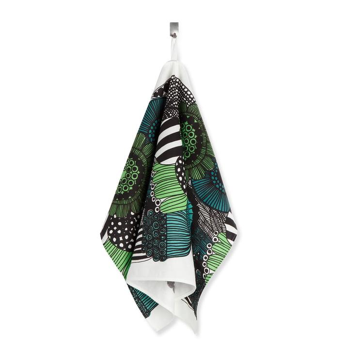 Le torchon Marimekko - Siirtolapuutarha, vert / blanc