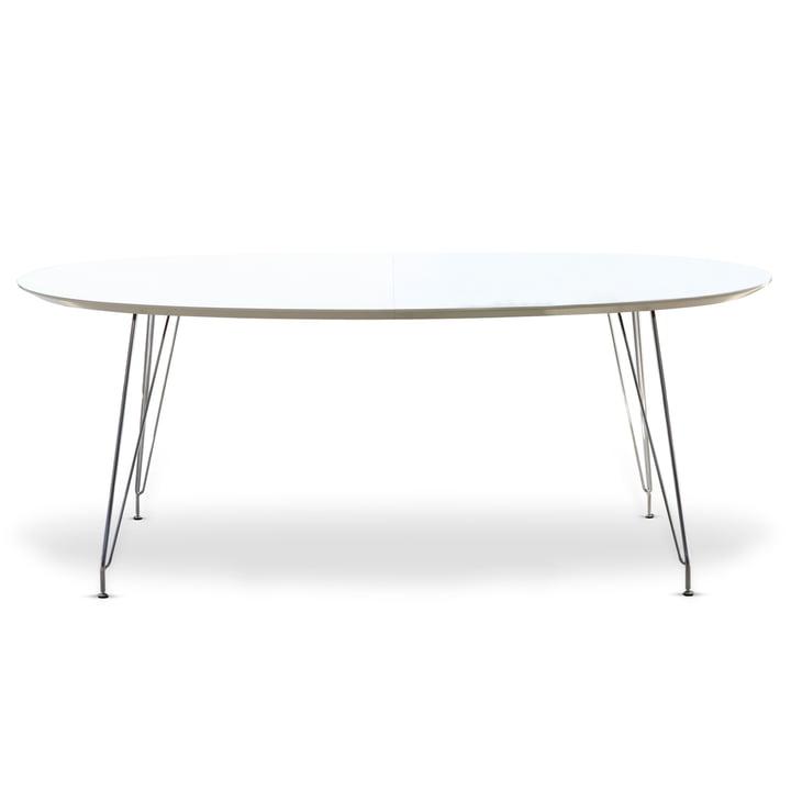 Table de salle à manger ovale DK 10 d'Andersen Furniture (dessus de table stratifié, blanc, cadre acier thermolaqué chromé)