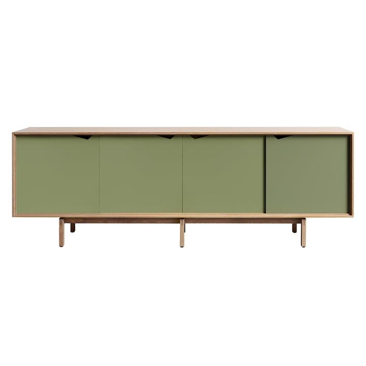 Bahut S1 d'Andersen Furniture en chêne huilé / portes pale olive
