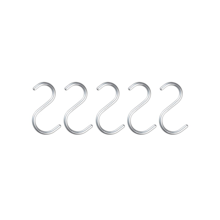 Nomess - S-Hook mini, aluminium argenté, lot de 5