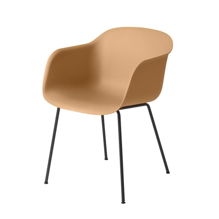 Fiber Chair Tube Base, ocre / noir par Muuto