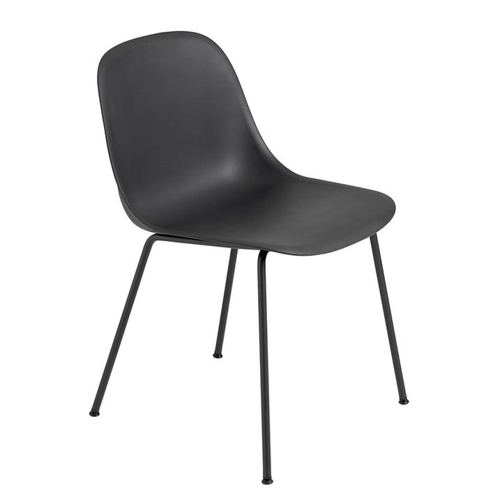 Fiber Side Chair - Tube Base par Muuto en noir / noir