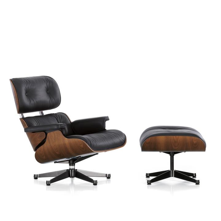 Vitra - Lounge Chair & Ottomann, noyer pigmenté noir, poli / côtés noirs, cuir premium noir, patins en feutre (nouvelles dimensions)