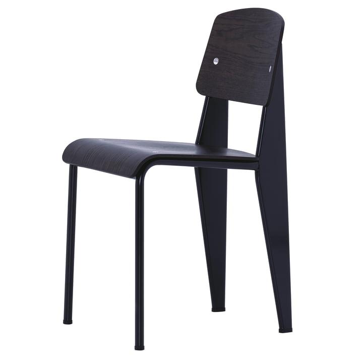 Prouvé Standard Chair par Vitra en chêne foncé / noir profond