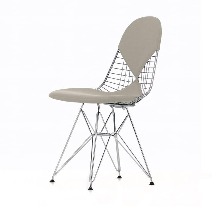Chaise en fil métallique DKR-2 (nouvelle hauteur) de Vitra en Hopsak Warmgrey / Ivoire / Cadre chromé