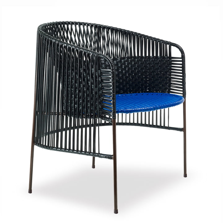 Ames - caribe Lounge Chair, noir / bleu / marron