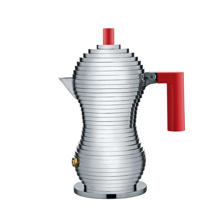Cafetière espresso 15cl Pulcina (induction) par Alessi en rouge