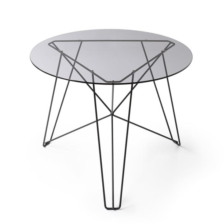 Spectrum - Table basse IJhorst M, Ø 60 cm, noir (RAL 9005) / verre fumé