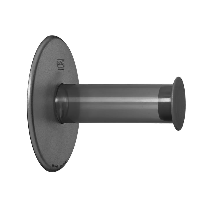 Koziol - Porte-papier hygiénique Plug'n Roll, anthracite transparent
