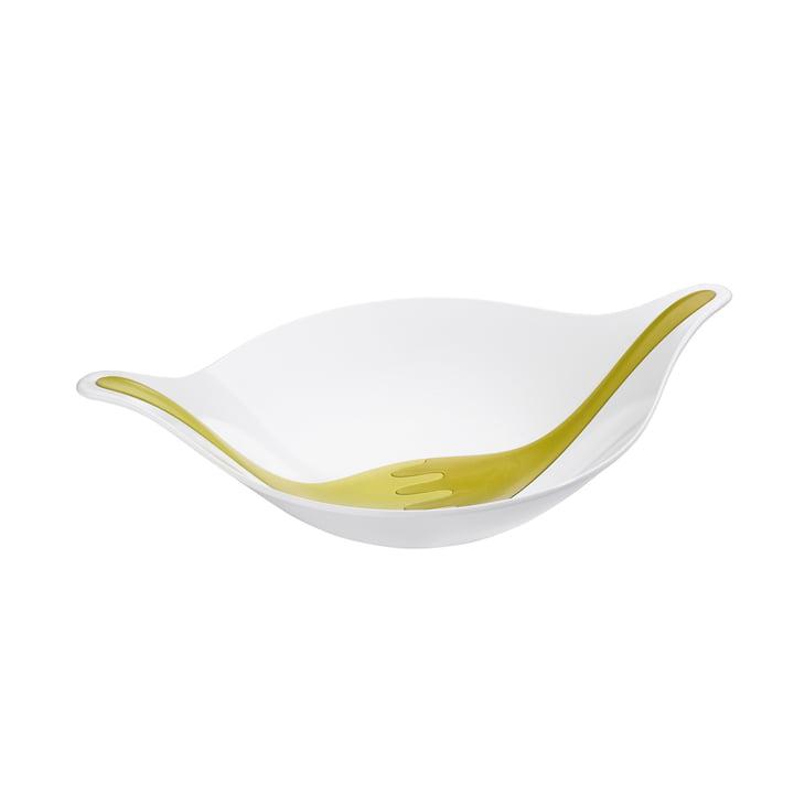 Koziol - Saladier Leaf avec couvert à salade, 3 L, olive / vert moutarde