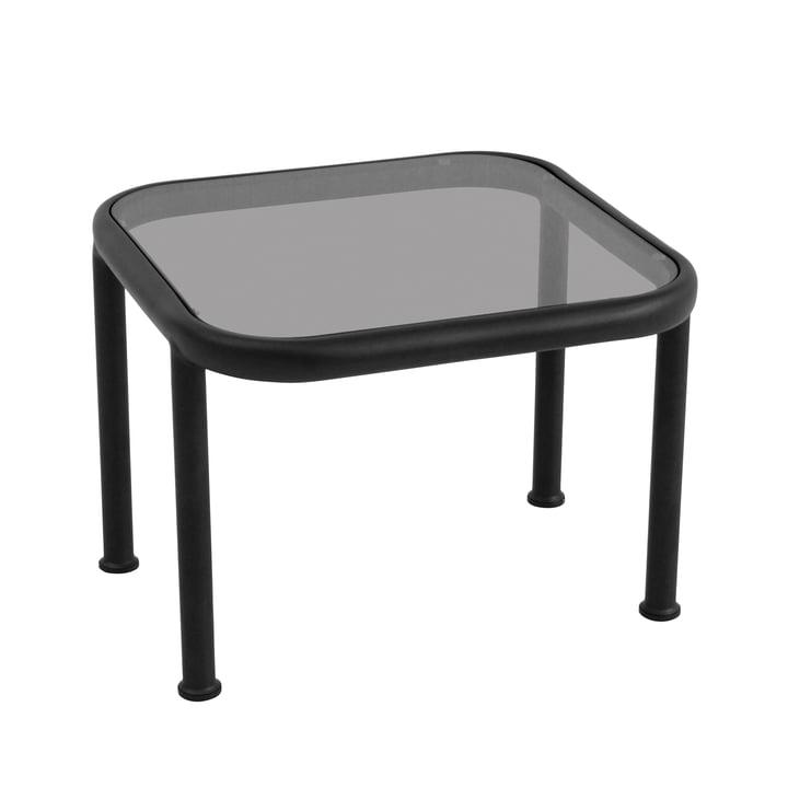 Table Dock carrée d'Emu en noir avec verre en gris fumé