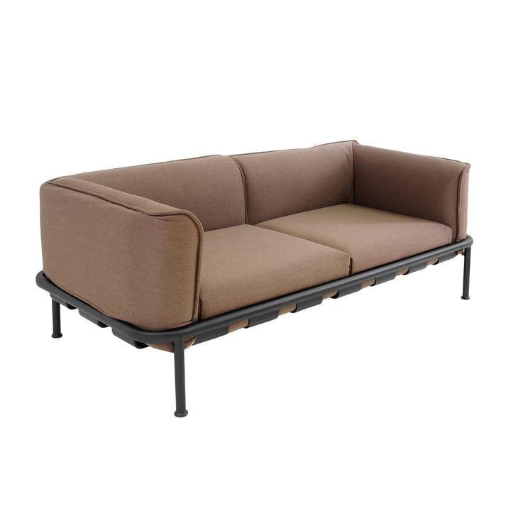 Canapé 2places Dock d'Emu en noir avec coussins en marron