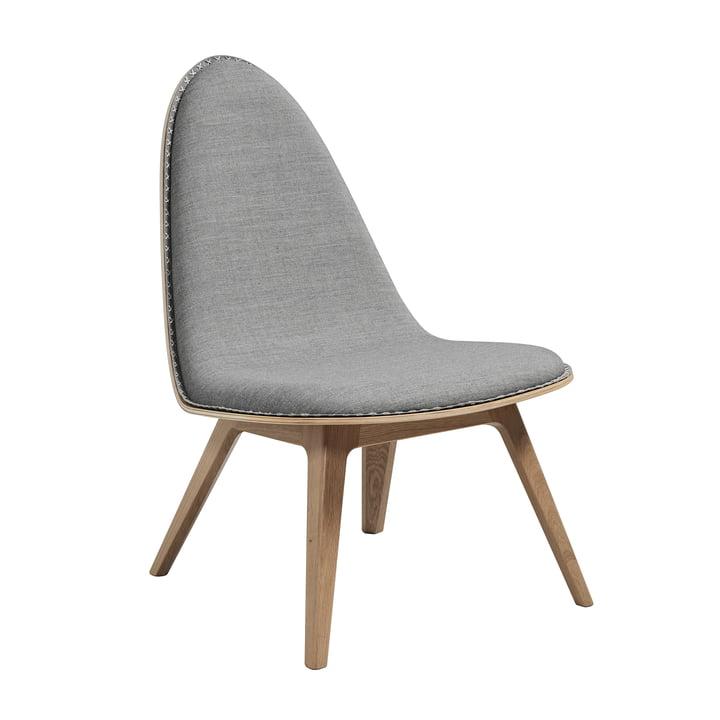 La chaise lounge Nordic de Sack it en chêne teinté clair/Remix gris clair, avec coutures