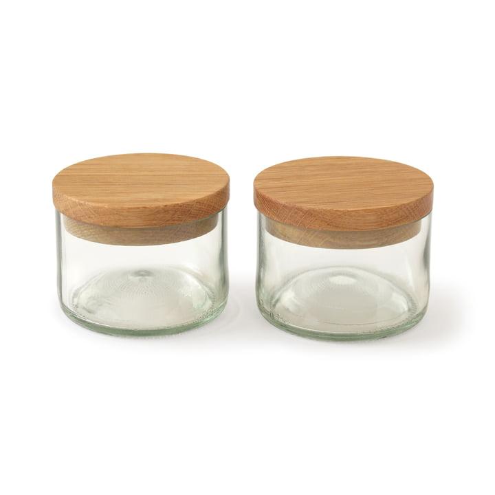 Pots à sel et épices (lot de 2) de side by side en chêne/verre
