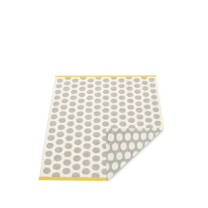 Pappelina - tapis réversible Noa, 70 x 50 cm, gris chaud / vanille / bord moutarde