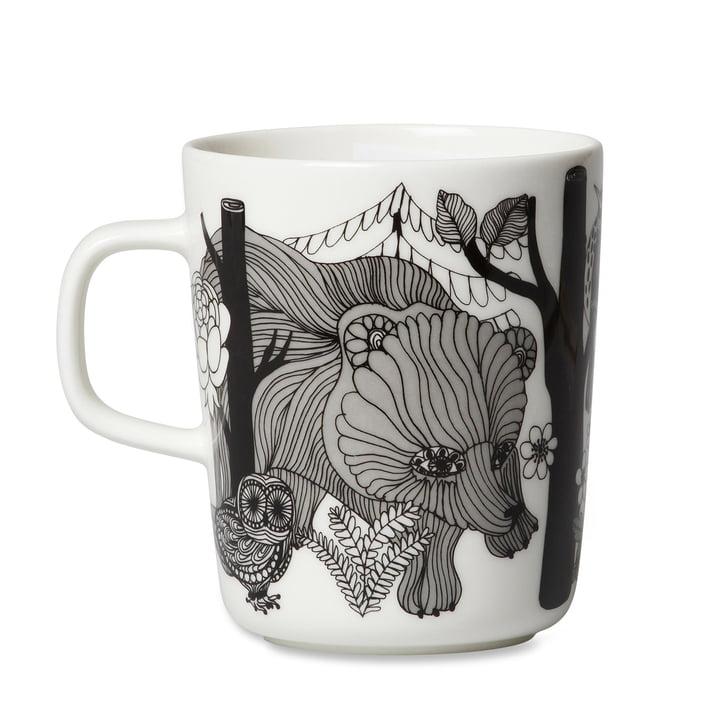 Marimekko - Mug Oiva Veljekset, avec anse, 250 ml en blanc / noir / bleu