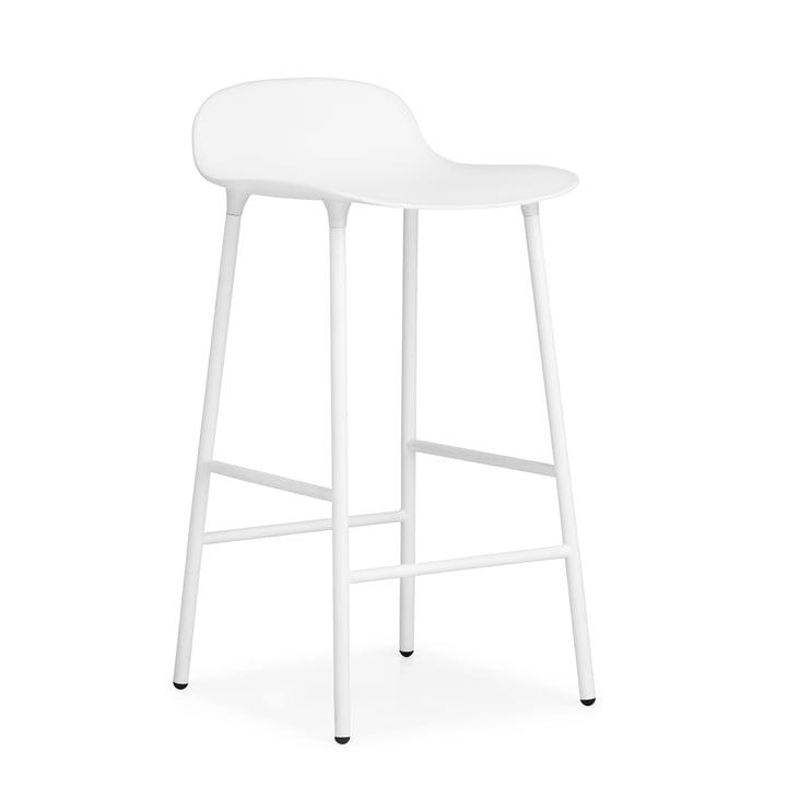 Tabouret de bar Form (65 cm) de Normann Copenhagen en blanc avec structure en acier