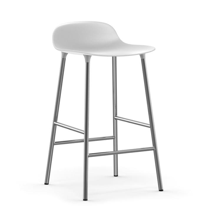 Forme tabouret de bar 65 cm cadre chromé par Normann Copenhagen en blanc