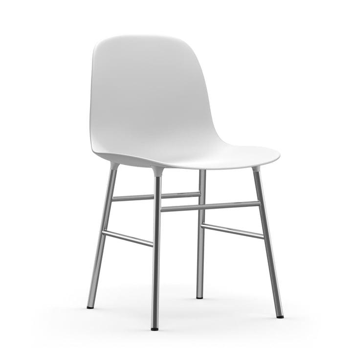 Chaise de forme (chrome) de Normann Copenhagen en blanc