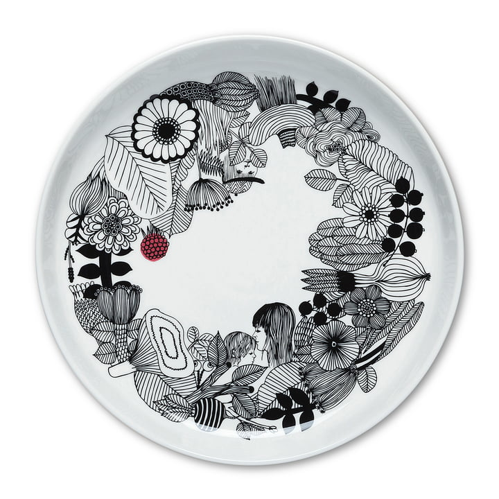 Assiette Siirtolapuutarha Ø 32 cm de Marimekko en noir / blanc