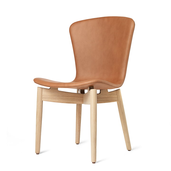 Shell Dining Chair par Mater en chêne laqué mat / cuir Ultra Brandy