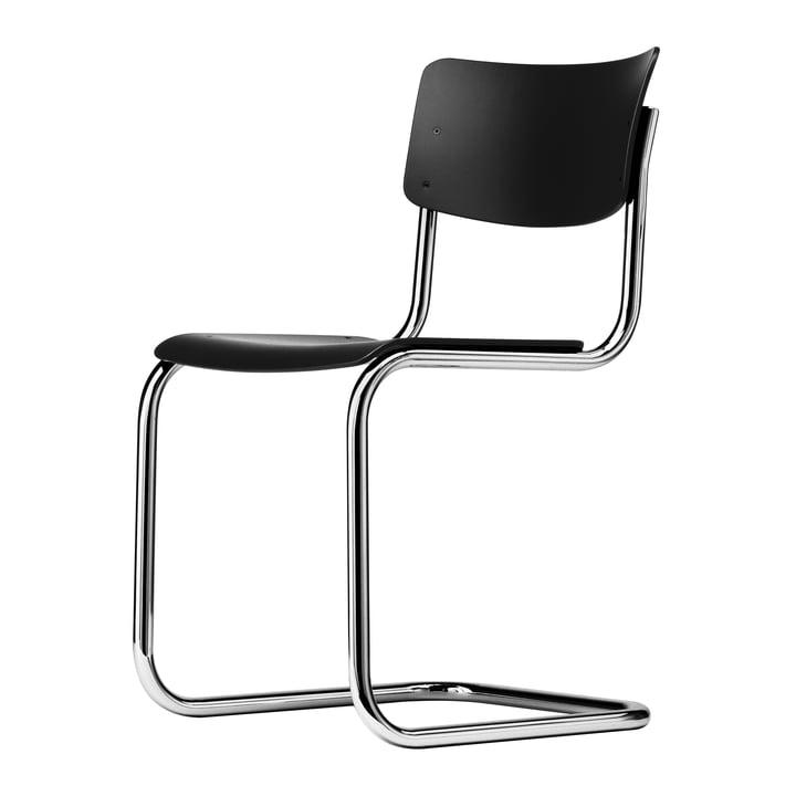Chaise S 43 par Thonet en chrome / hêtre teinté noir (TP 29)