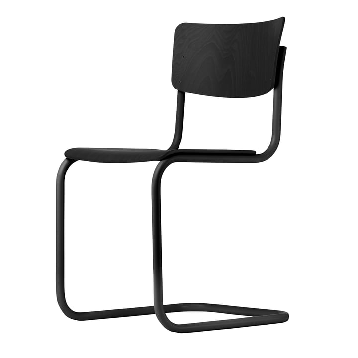 Chaise S 43 par Thonet en noir / hêtre teinté noir (TP 29)