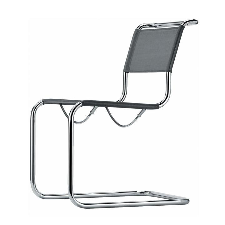 Thonet - fauteuil S 33 N, chrome / tissu tendu argenté