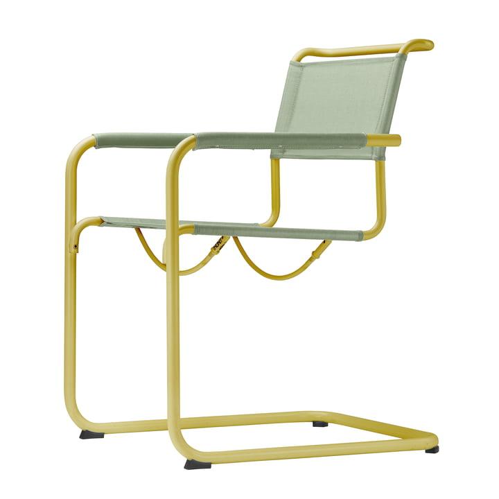 Le fauteuil S 34 N All Seasons par Thonet en jaune moutarde / moos
