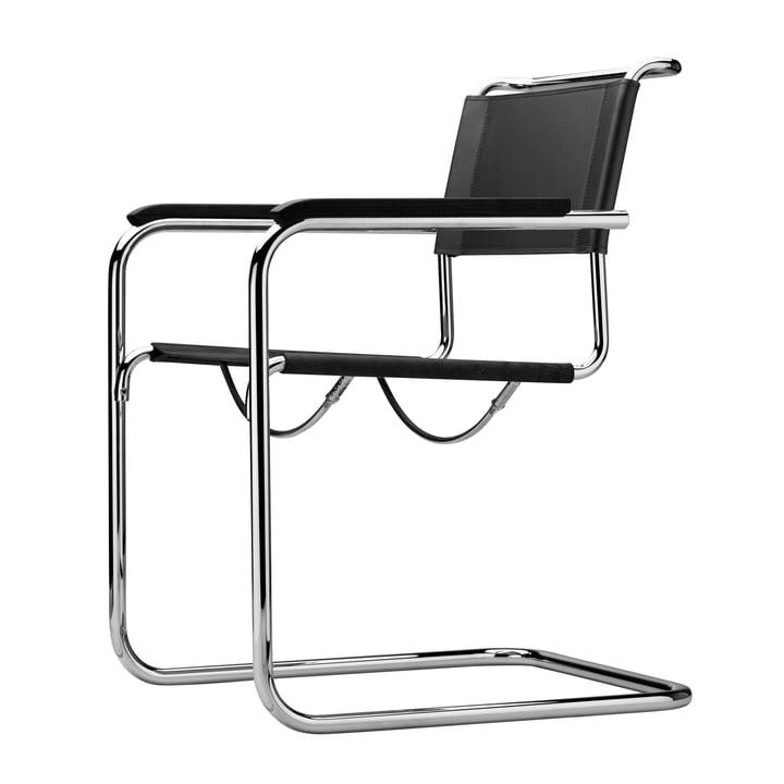 Thonet - fauteuil S 34, chrome / noir cuir / accoudoirs hêtre noir (TP 29)