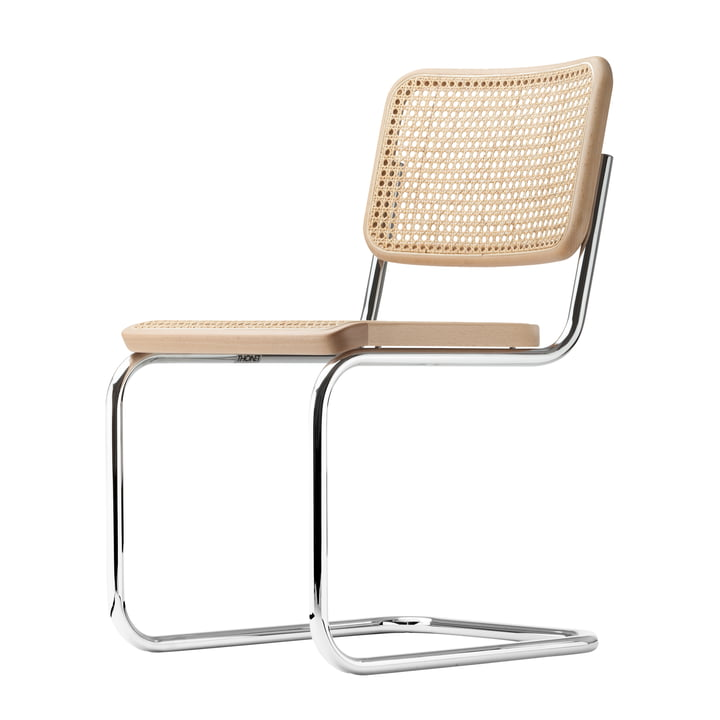 Chaise S 32 par Thonet en chrome / hêtre naturel (TP 17) / avec assise cannée