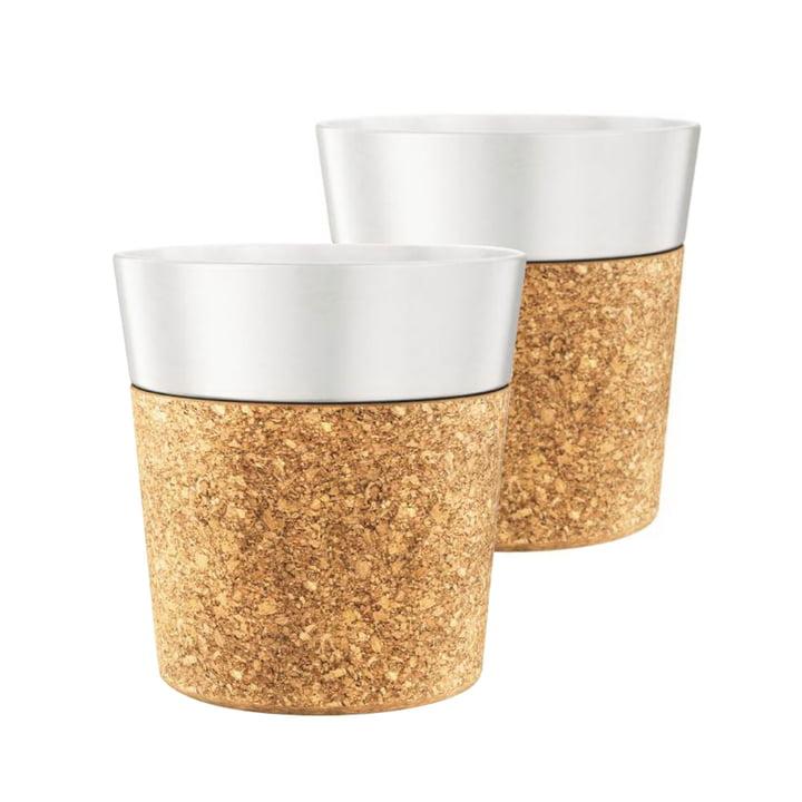 Tasse Bistro 0,3l, porcelaine / liège (lot de2) par Bodum